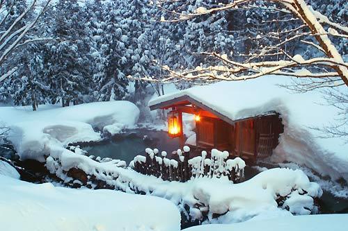 sources chaudes au japon en hivers