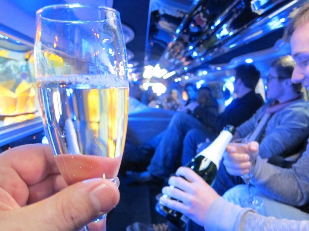 champagne class inside limousine photo